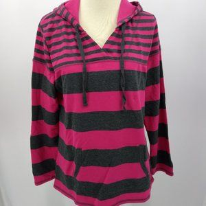 Sonoma Women Large Hoodie Pink Gray Pullover